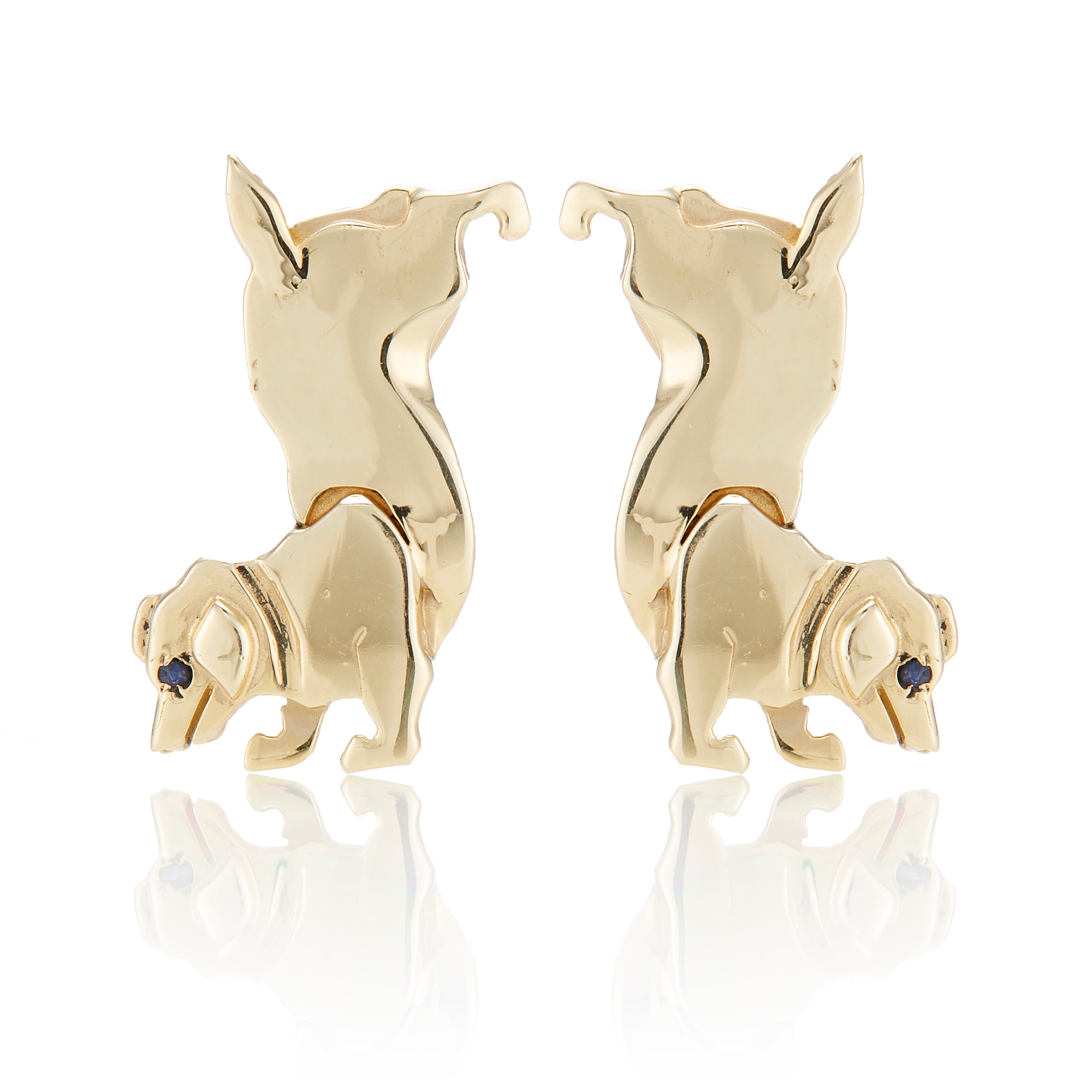 Mia Fonssagrives-Solow Polished Gold Jack Russell Handstand Earrings