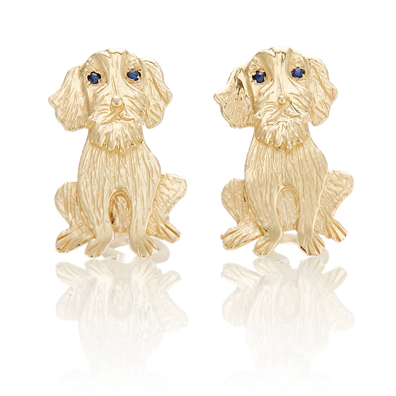 Mia Fonssagrives-Solow Etched Gold Sitting Dog Earrings