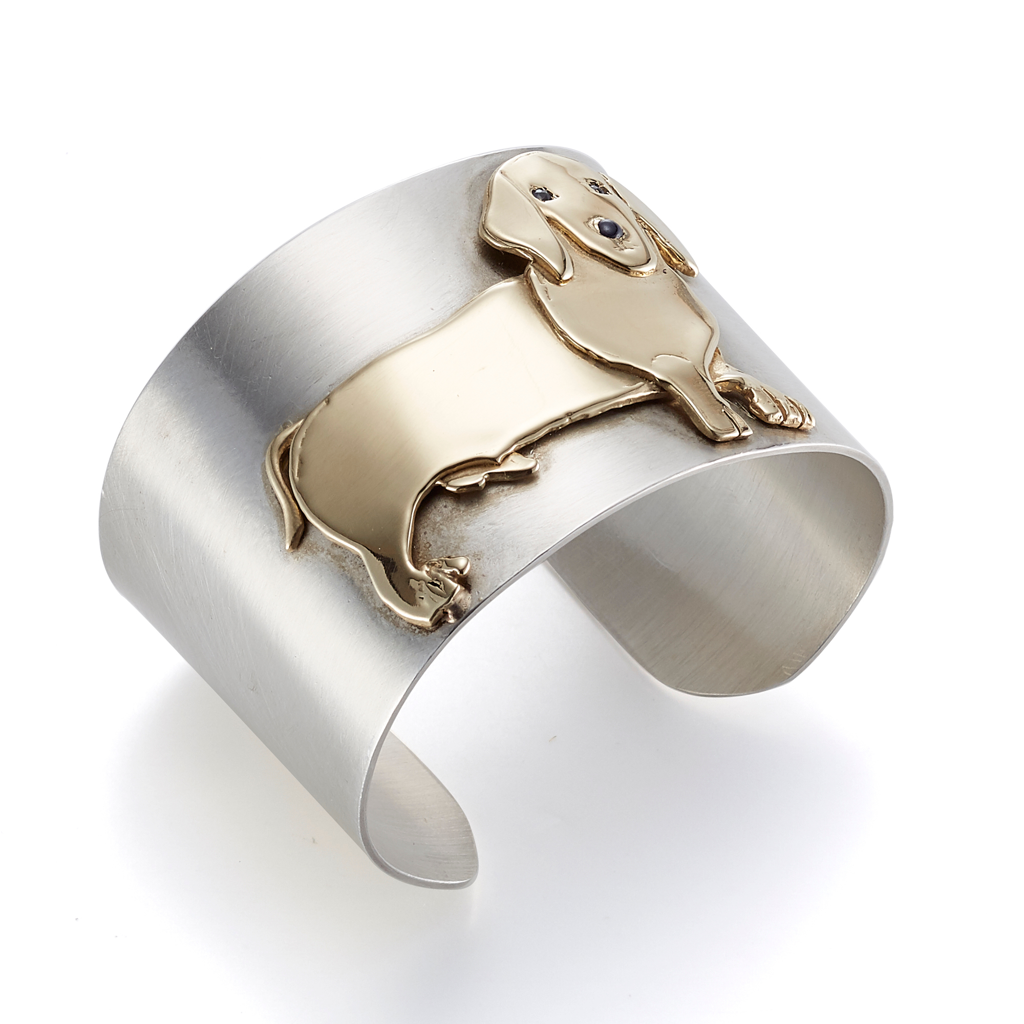 Mia Fonssagrives-Solow Polished Silver & White Gold Dachshund Cuff