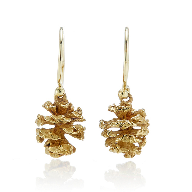 John Iversen Gold Pine Cone Earrings