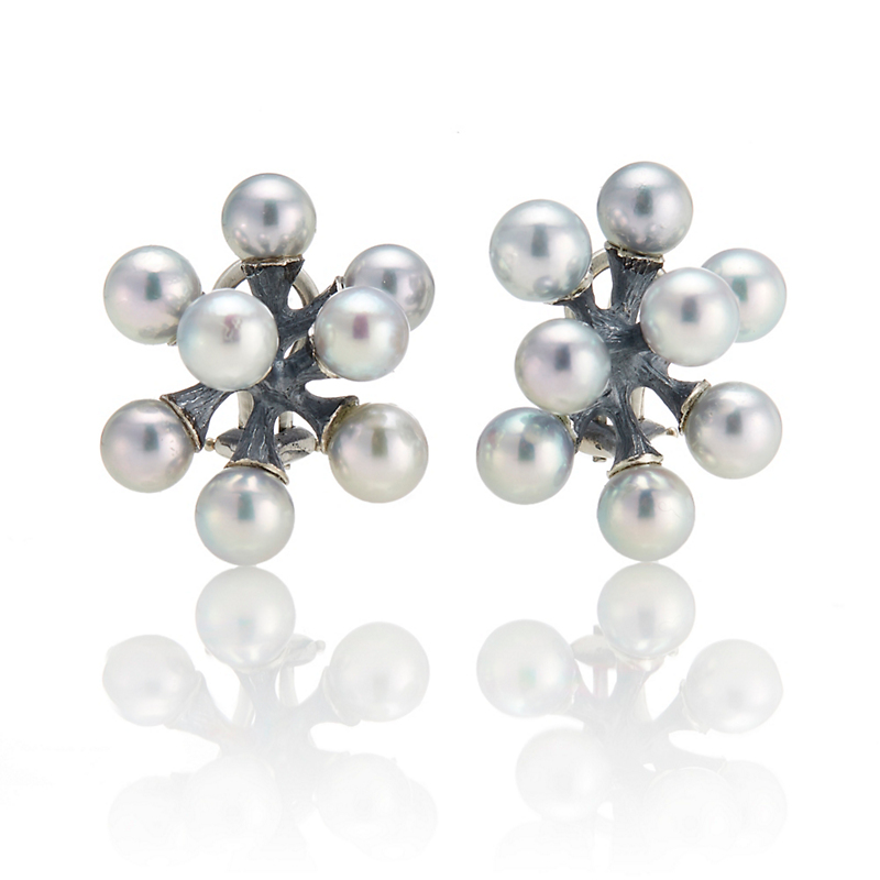 John Iversen Gray Akoya Cultured Pearl Jacks Earrings
