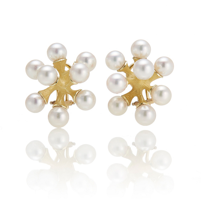 John Iversen Pink Akoya Cultured Pearl Jacks Earrings