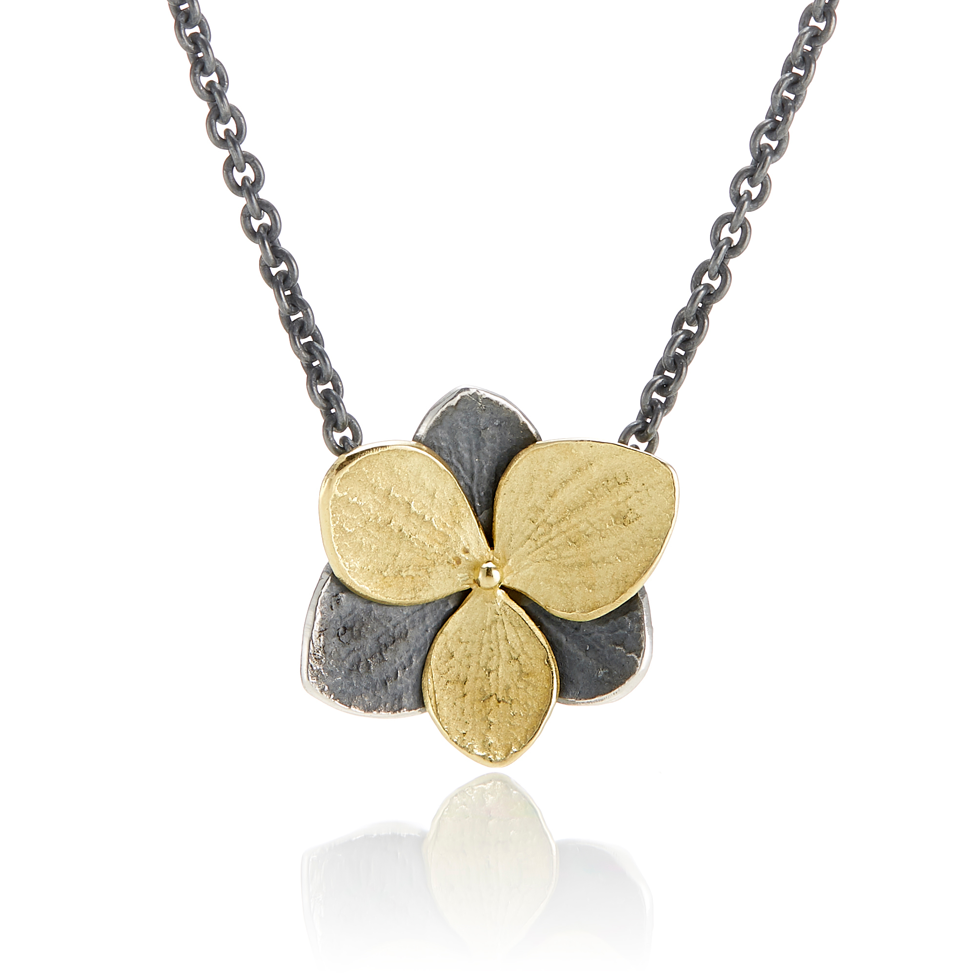 John Iversen Oxidized Silver & Etched Gold Hydrangea Necklace