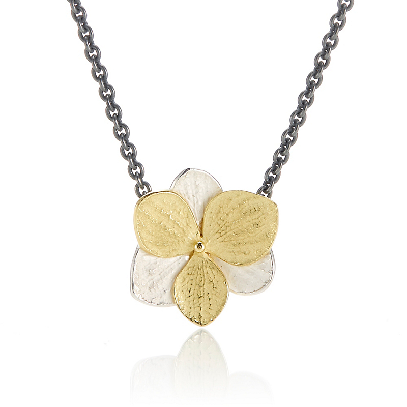 John Iversen Sterling Silver & Etched Gold Hydrangea Necklace