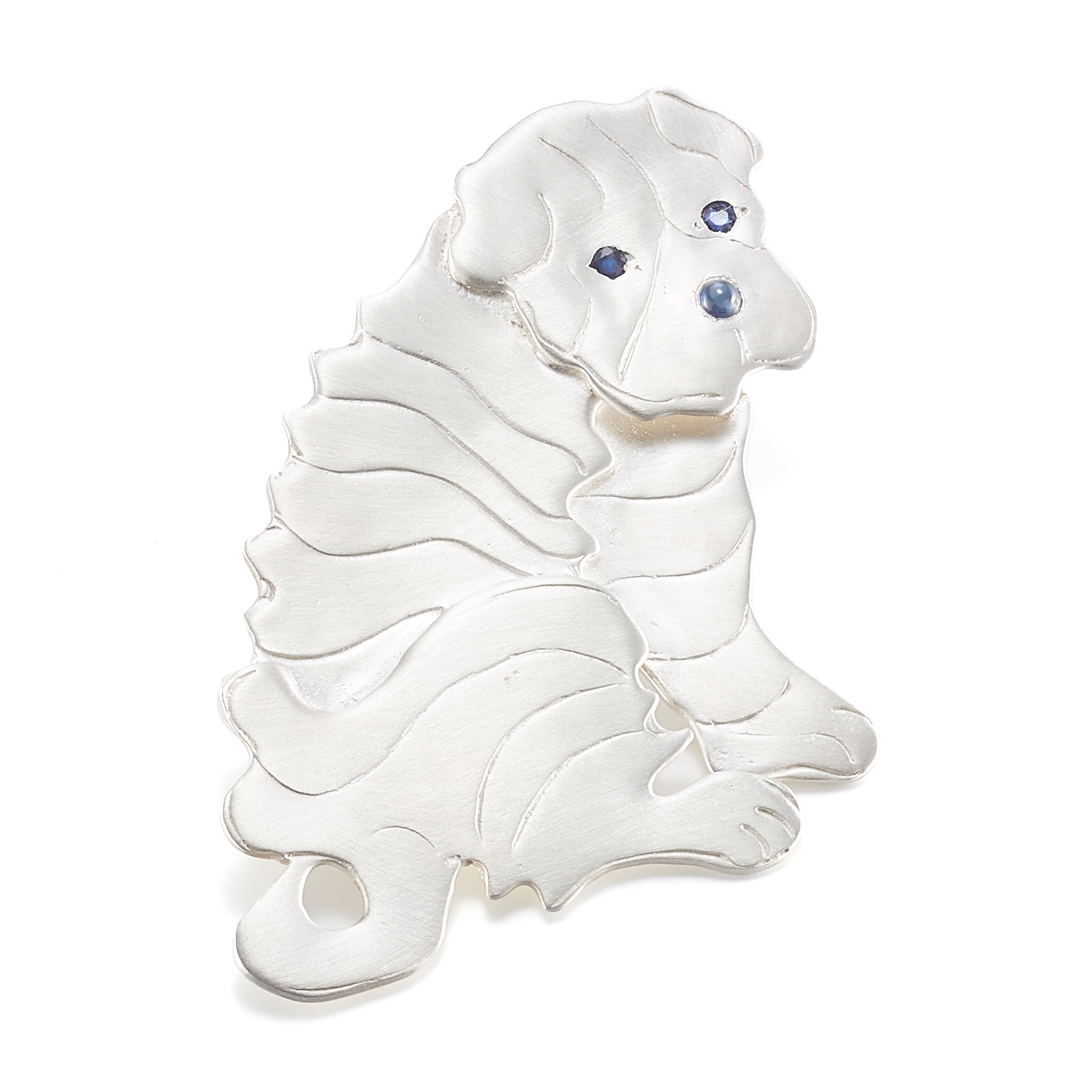 Mia Fonssagrives-Solow Polished Silver Sitting Shar Pei Brooch
