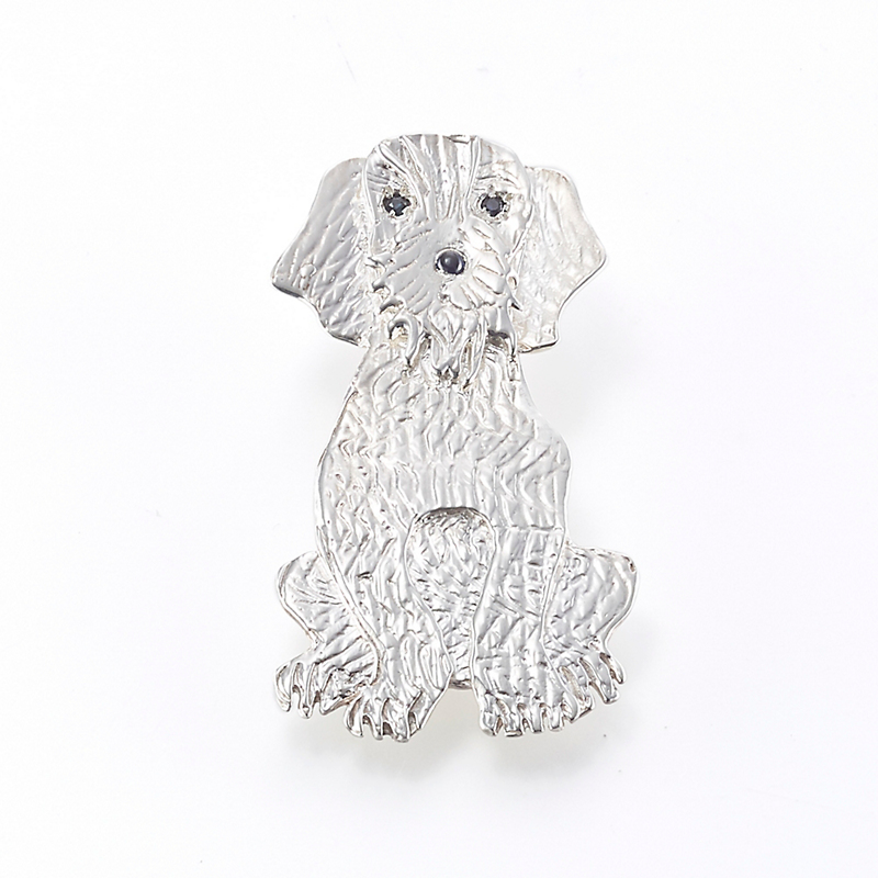 Mia Fonssagrives-Solow Etched Silver Sitting Dog Brooch