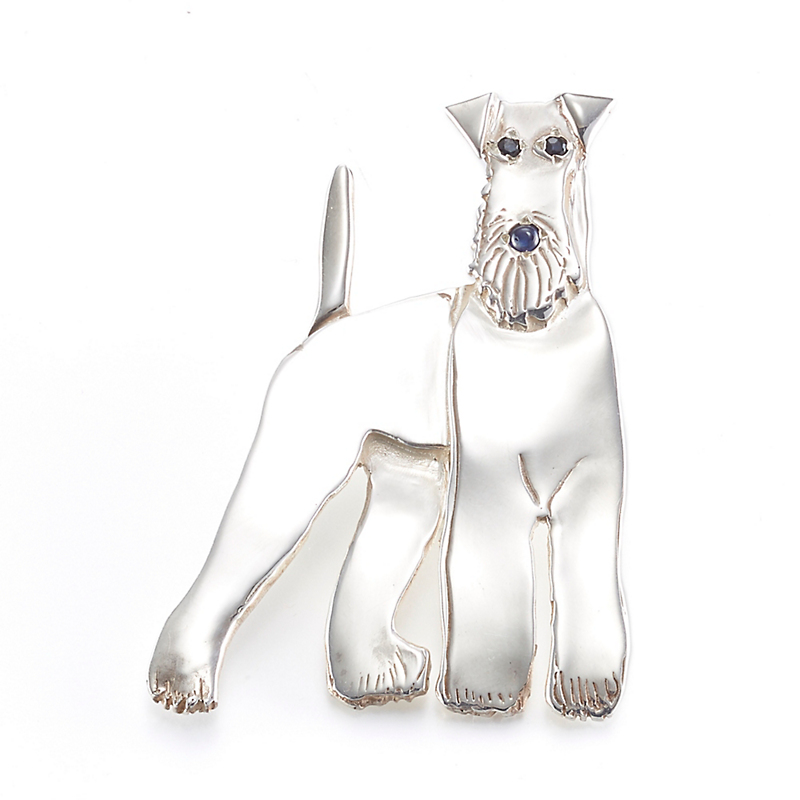 Mia Fonssagrives-Solow Polished Silver Standing Airedale Brooch