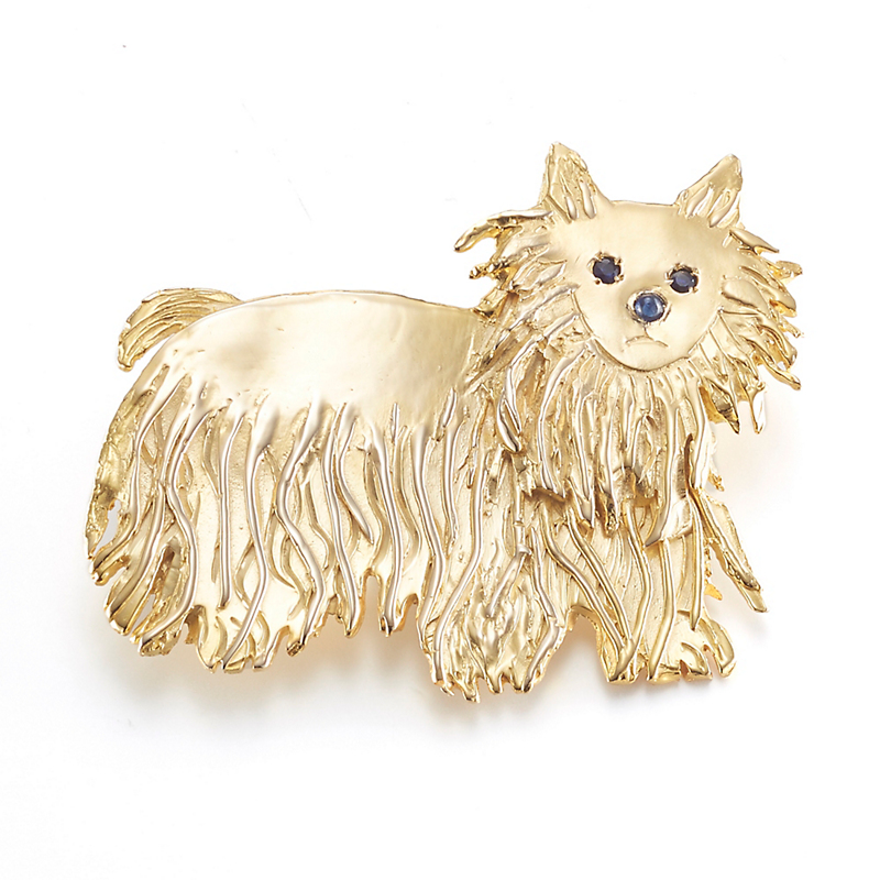 Mia Fonssagrives-Solow Etched Silver Standing Westie Brooch