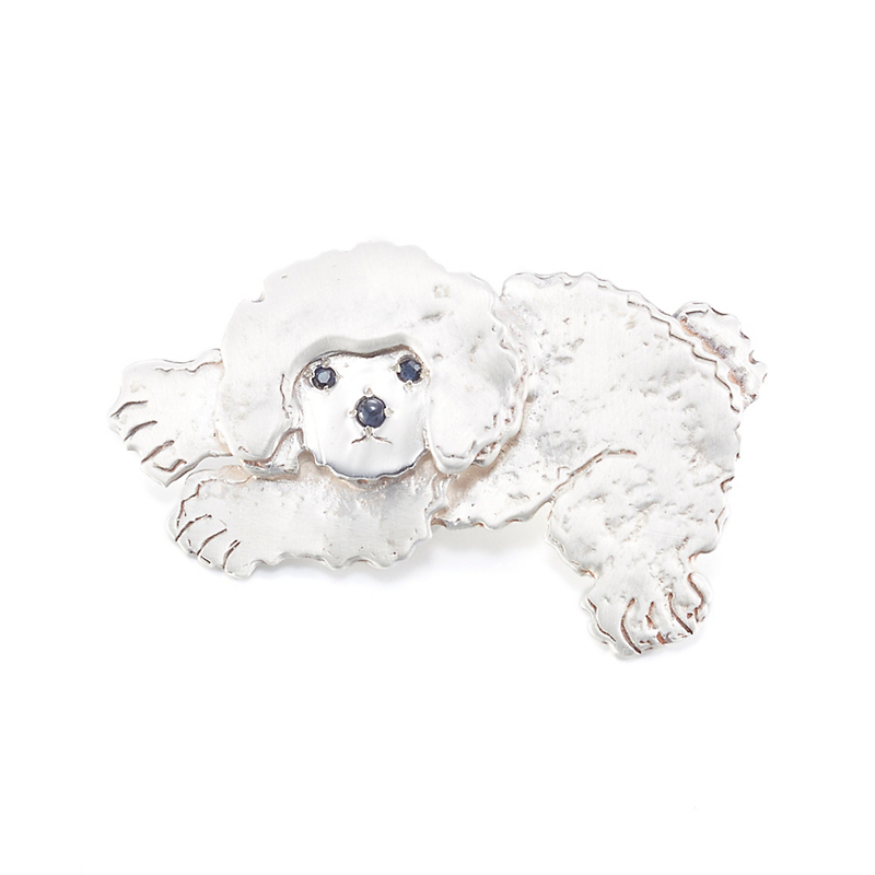 Mia Fonssagrives-Solow Matte Silver Resting Bichon Brooch