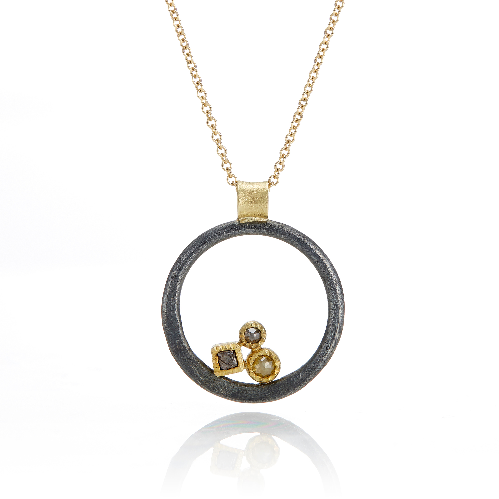 Todd Reed Open Circle With Multi Diamond Pendant Necklace