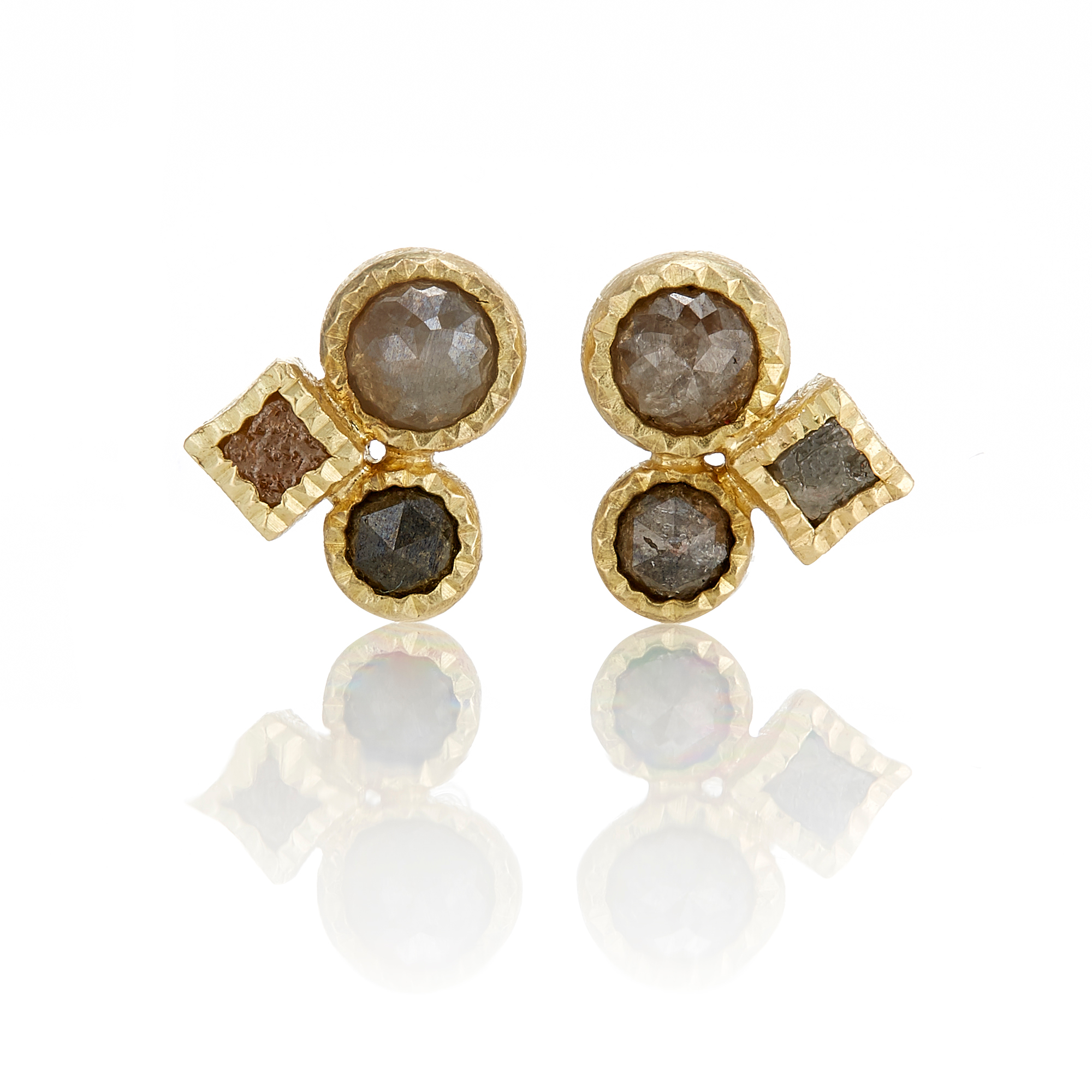 Todd Reed Rose And Raw Diamond Trio Stud Earrings