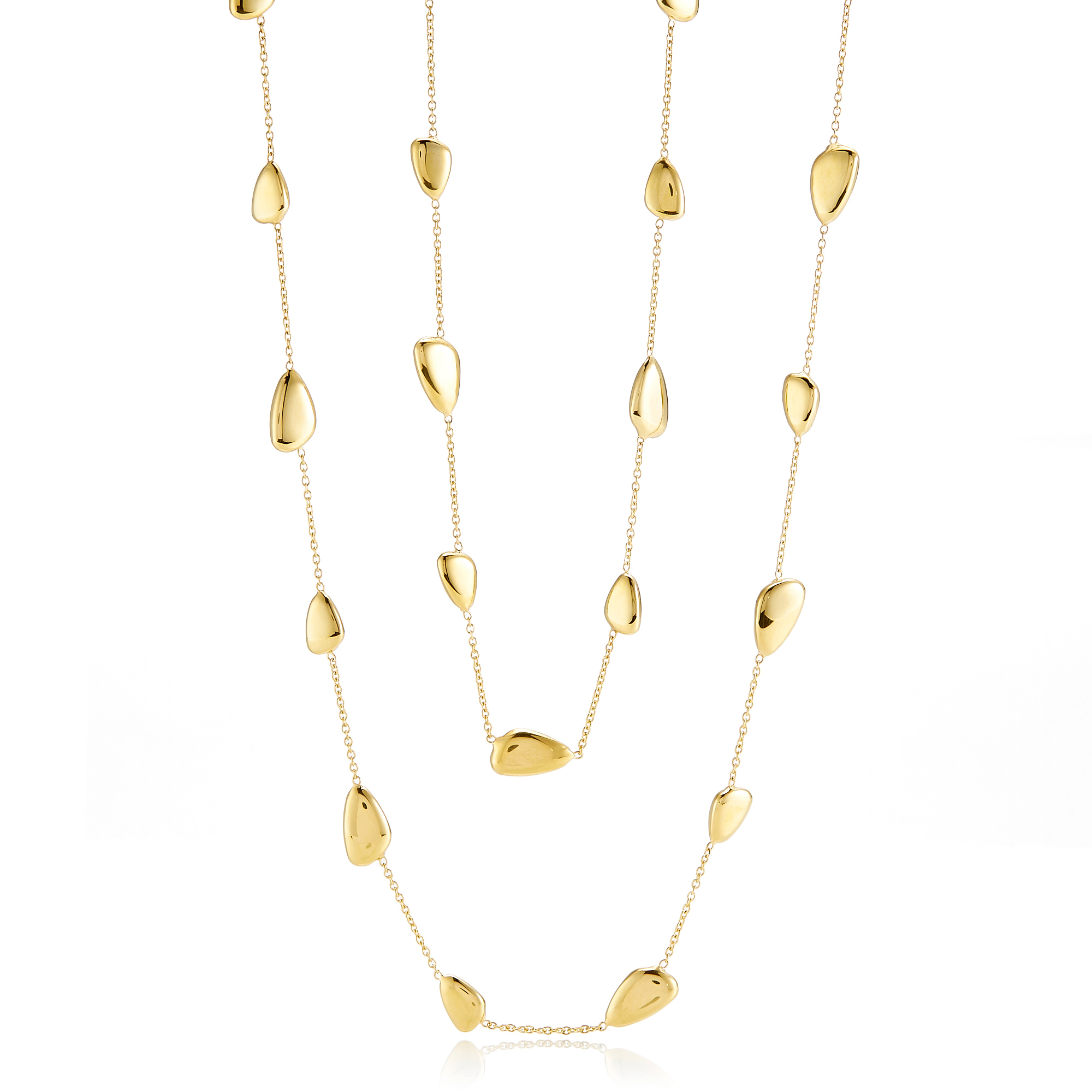 Polished Organic Pebble Gold Station Necklace