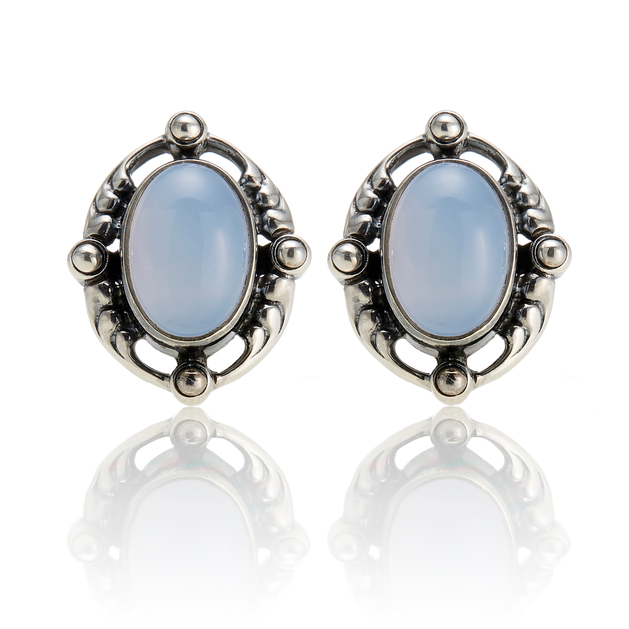 Georg Jensen Sterling Silver Blue Chalcedony Heritage Earrings