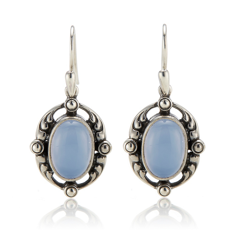 Georg Jensen Sterling Silver Blue Chalcedony Heritage Drop Earrings