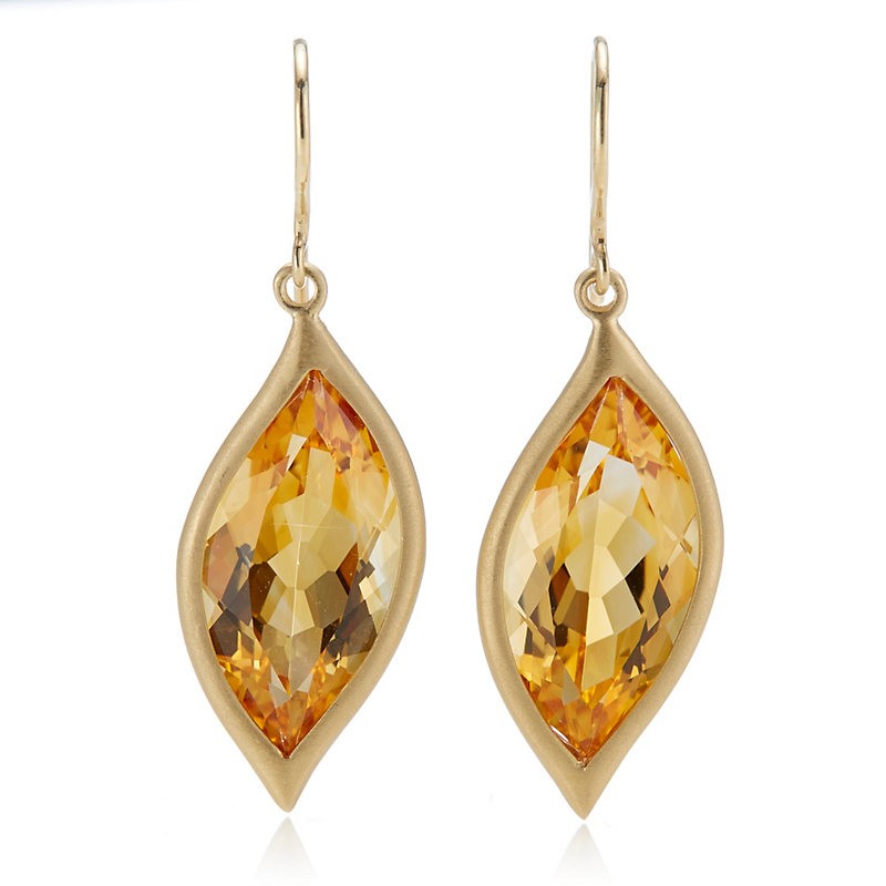 Carelle Citrine Leaf Earrings