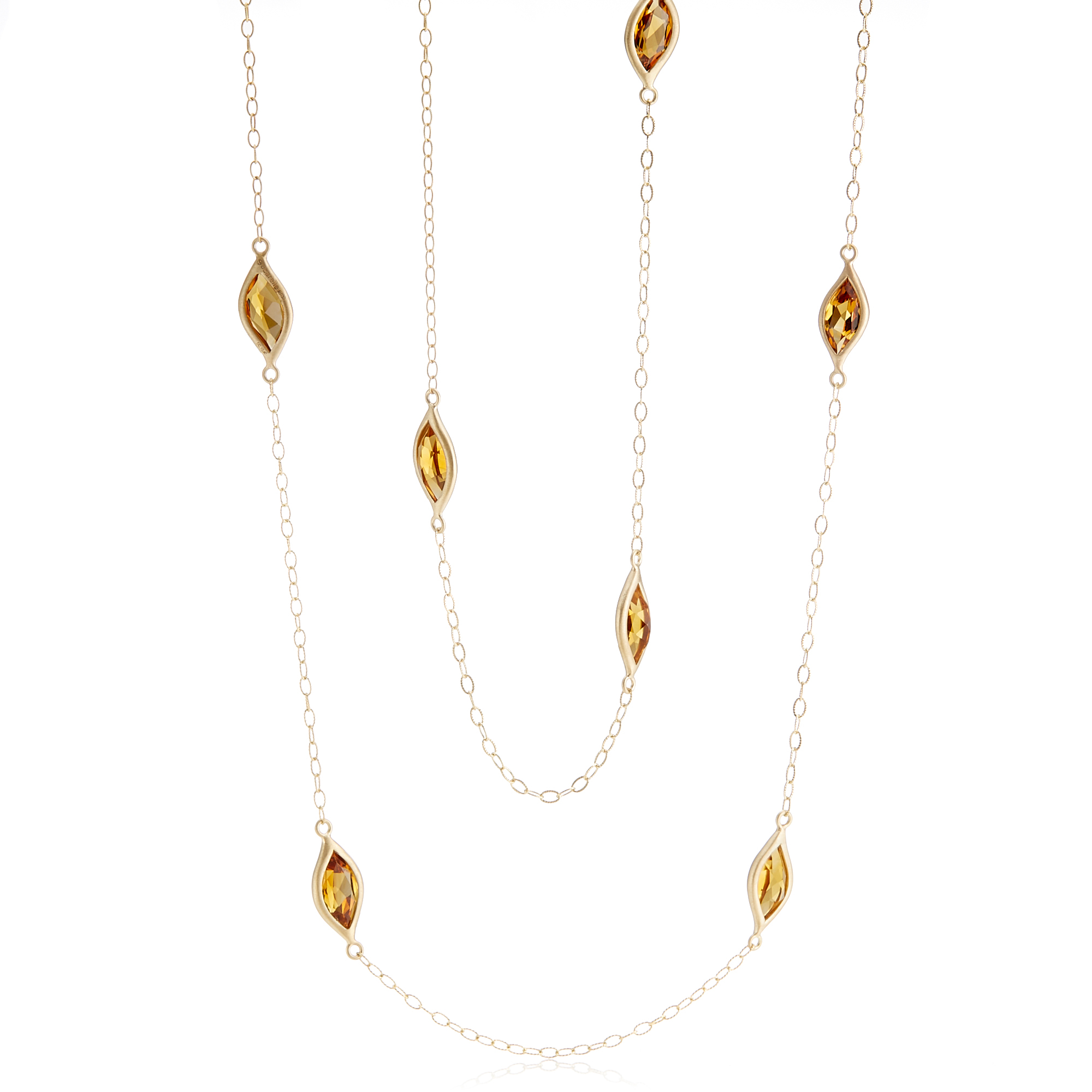 Carelle Citrine Leaf Station Necklace