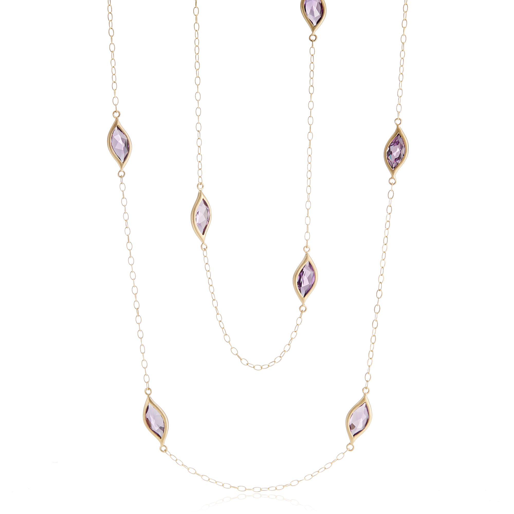 Carelle Amethyst Leaf Station Necklace