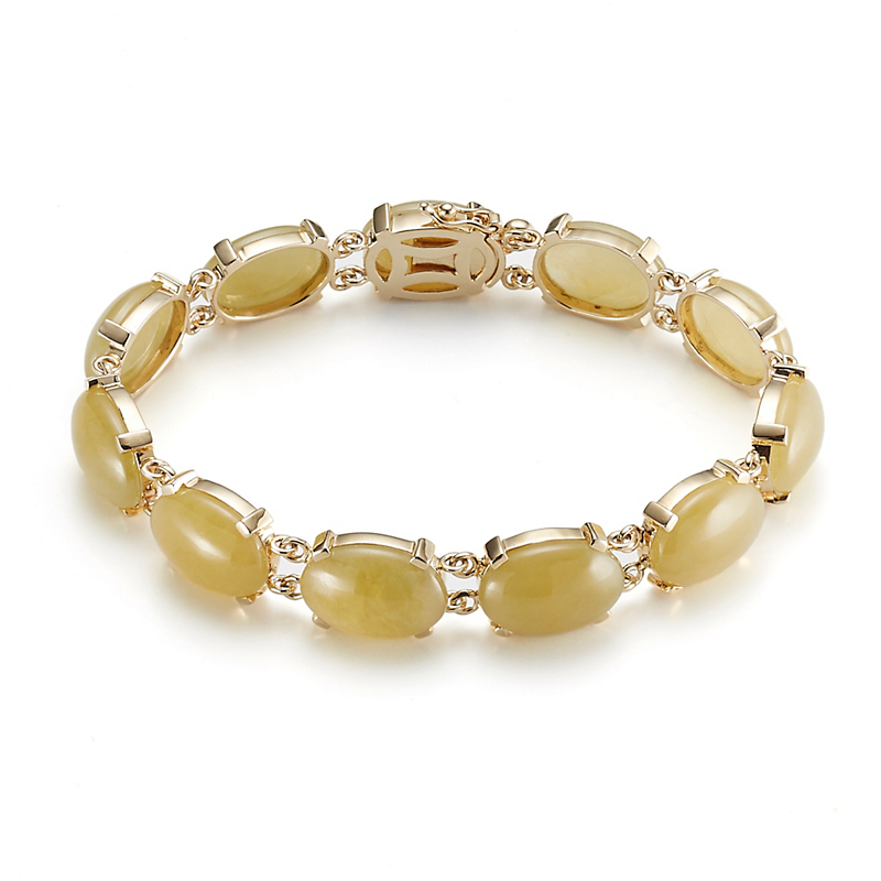 Yellow Jadeite Oval Bracelet