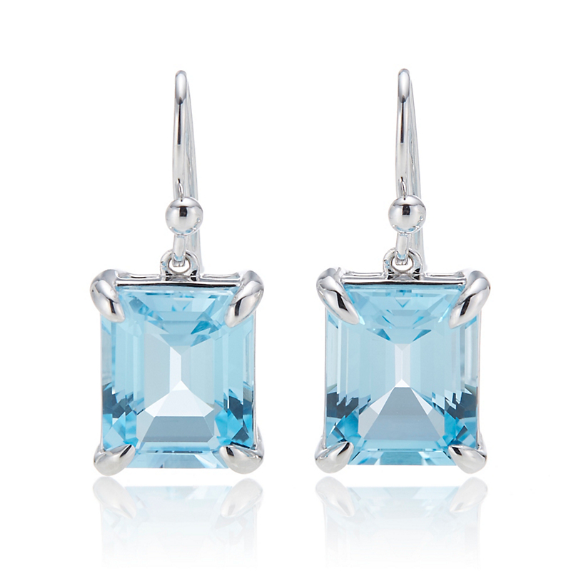 Gump's  Sky Blue Topaz Rectangle Silver Drop Earrings