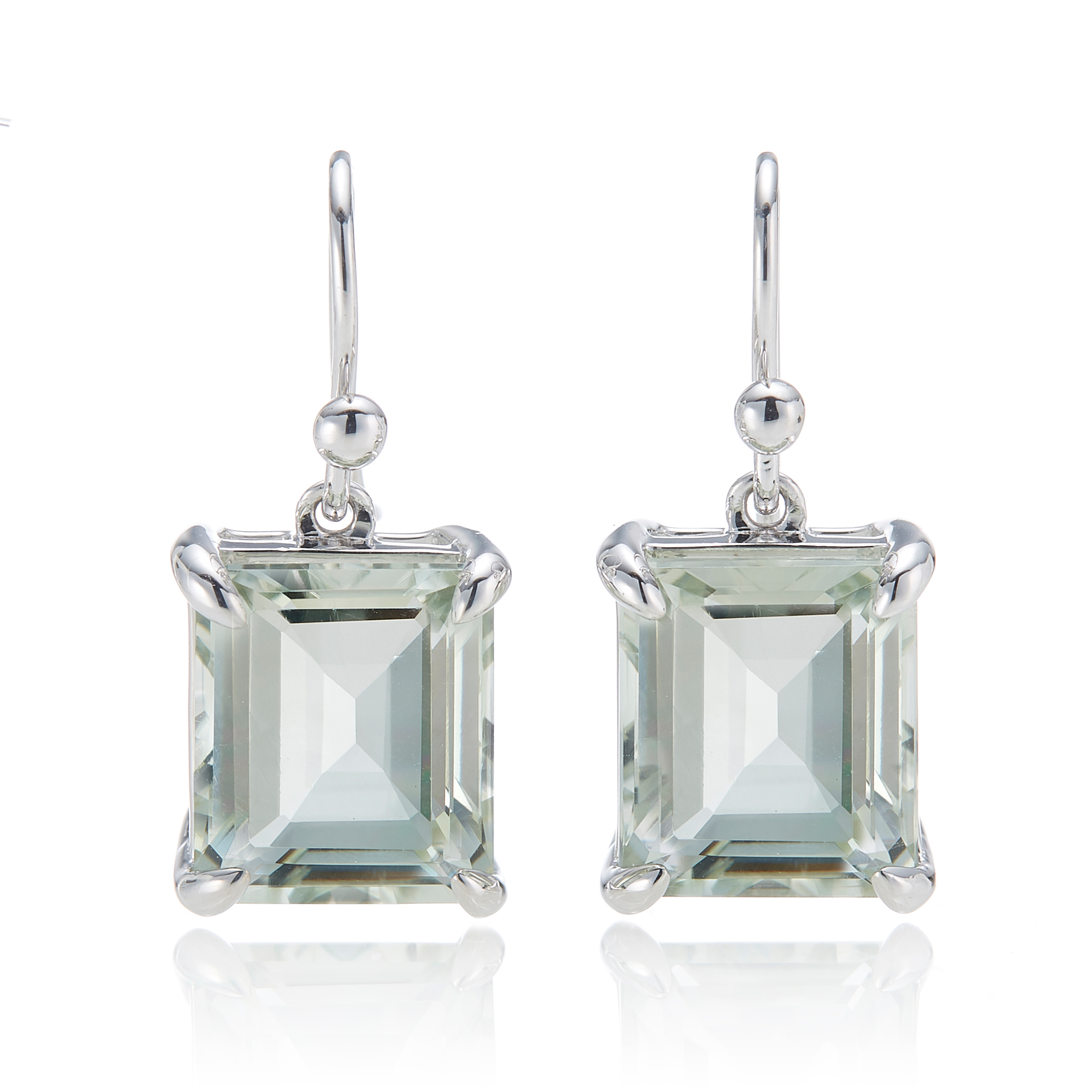 Gump's  Green Quartz Rectangle Silver Drop Earrings