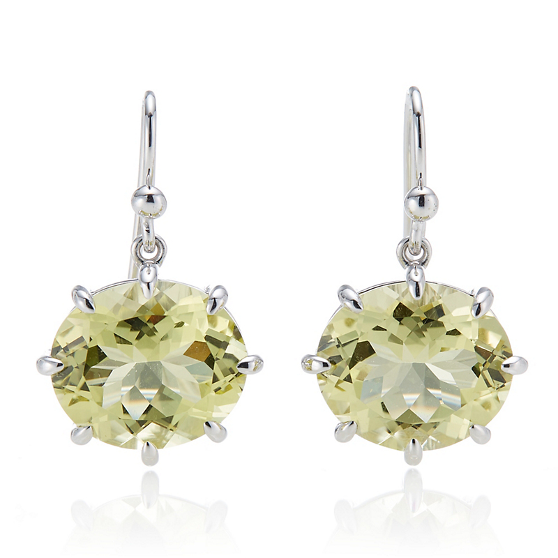 Gump's  Lemon Quartz Oval Prong Set Silver Drop Earrings