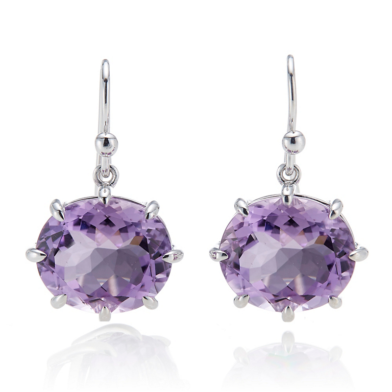Gump's  Amethyst Oval Prong Set Silver Earrings