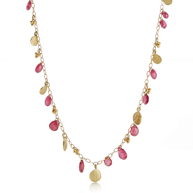 Barbara Heinrich Pink Spinel & Hydrangea Petal Necklace
