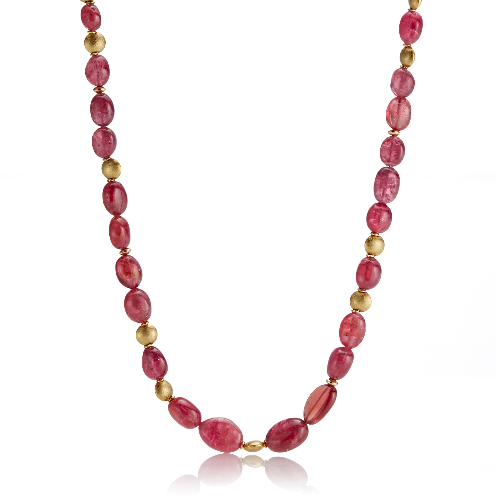 Barbara Heinrich Graduated Smooth Pink Spinel & Gold Spacer Necklace