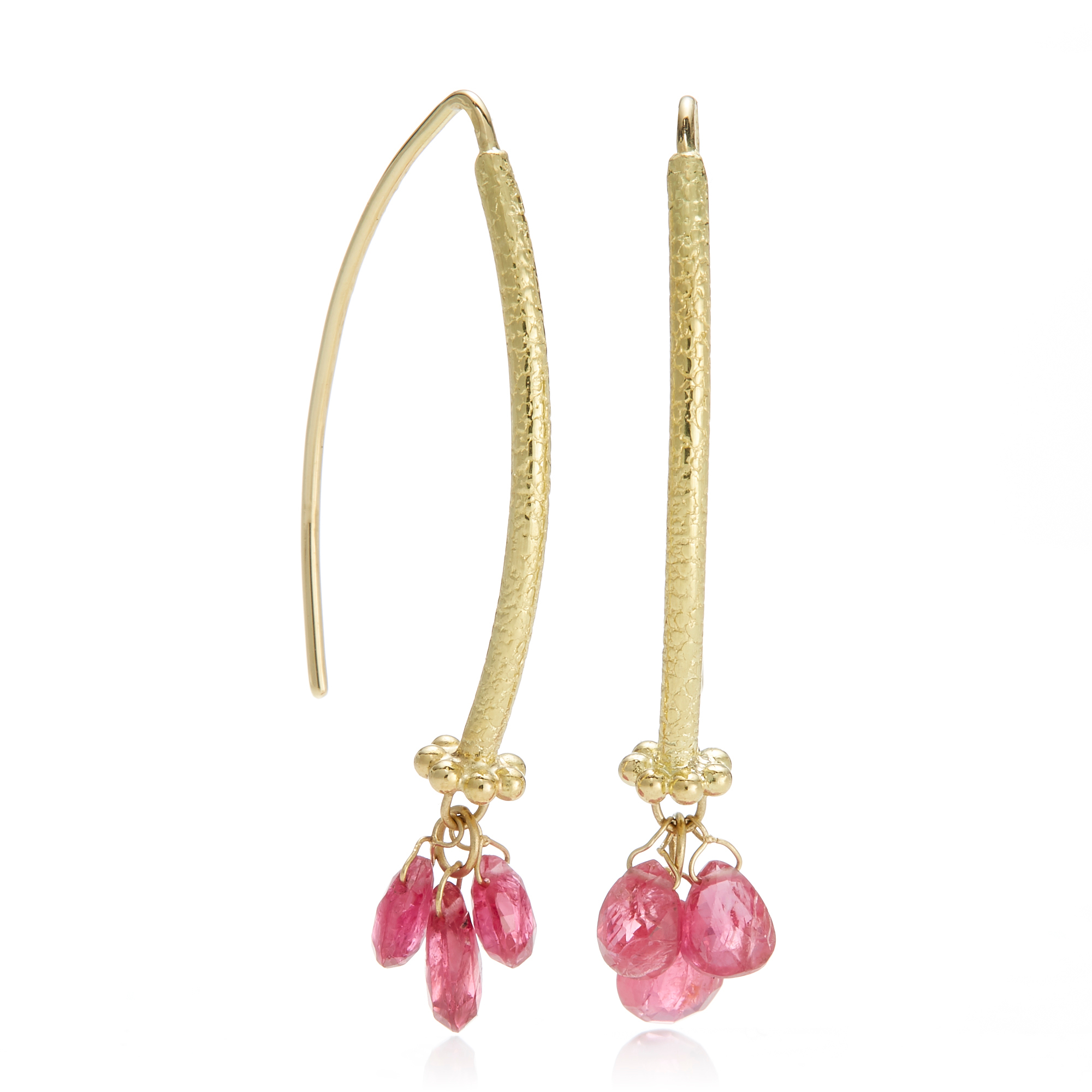 Barbara Heinrich Pink Spinel Navette Earrings