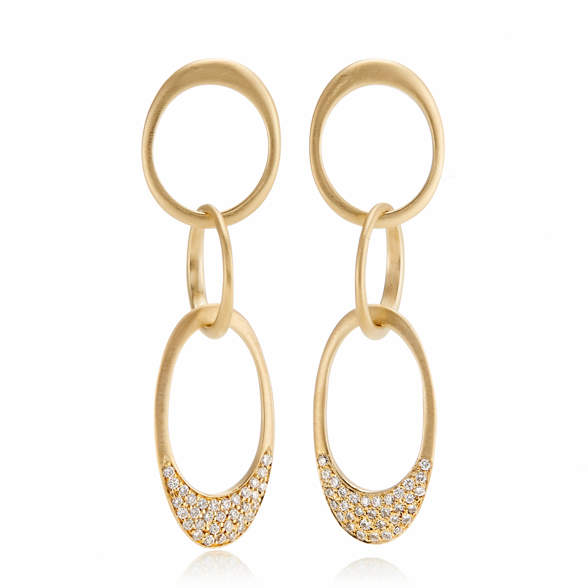 Carelle Trio Interlinks Diamond Drop Earrings