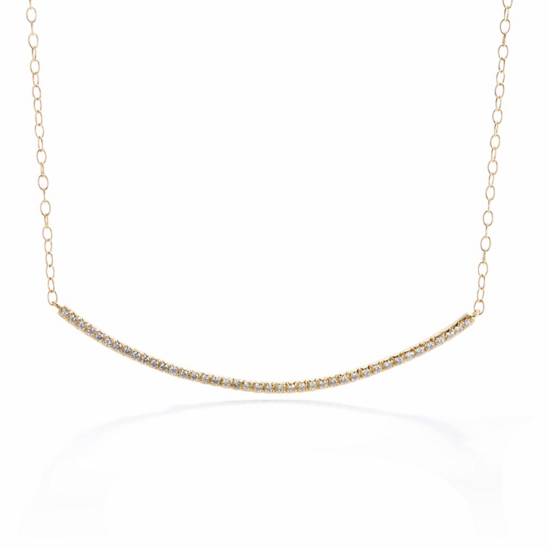 Carelle Moderne Curved Diamond Bar Necklace