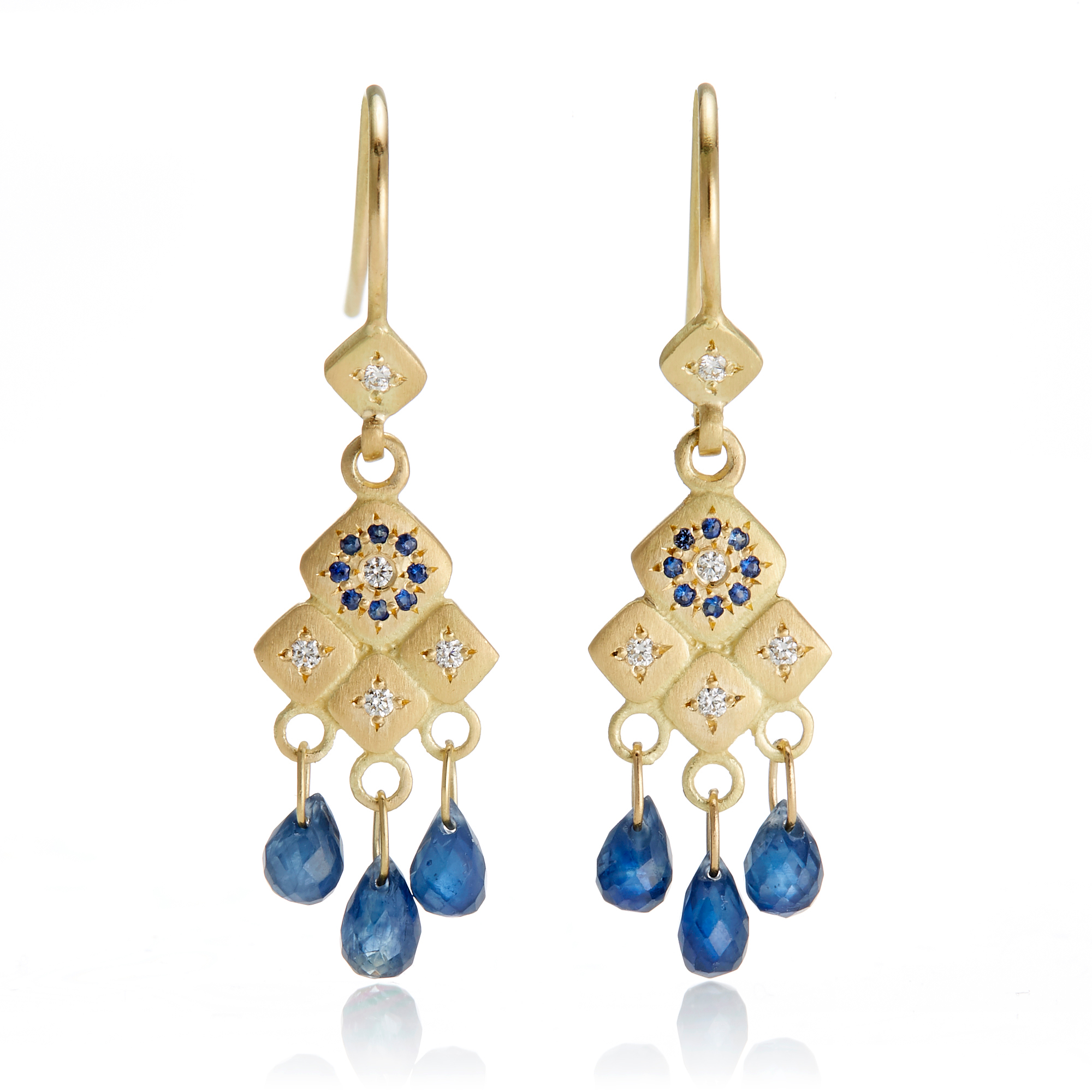 Adel Chefridi Blue Sapphire & Diamond Mosaic Chandelier Earrings