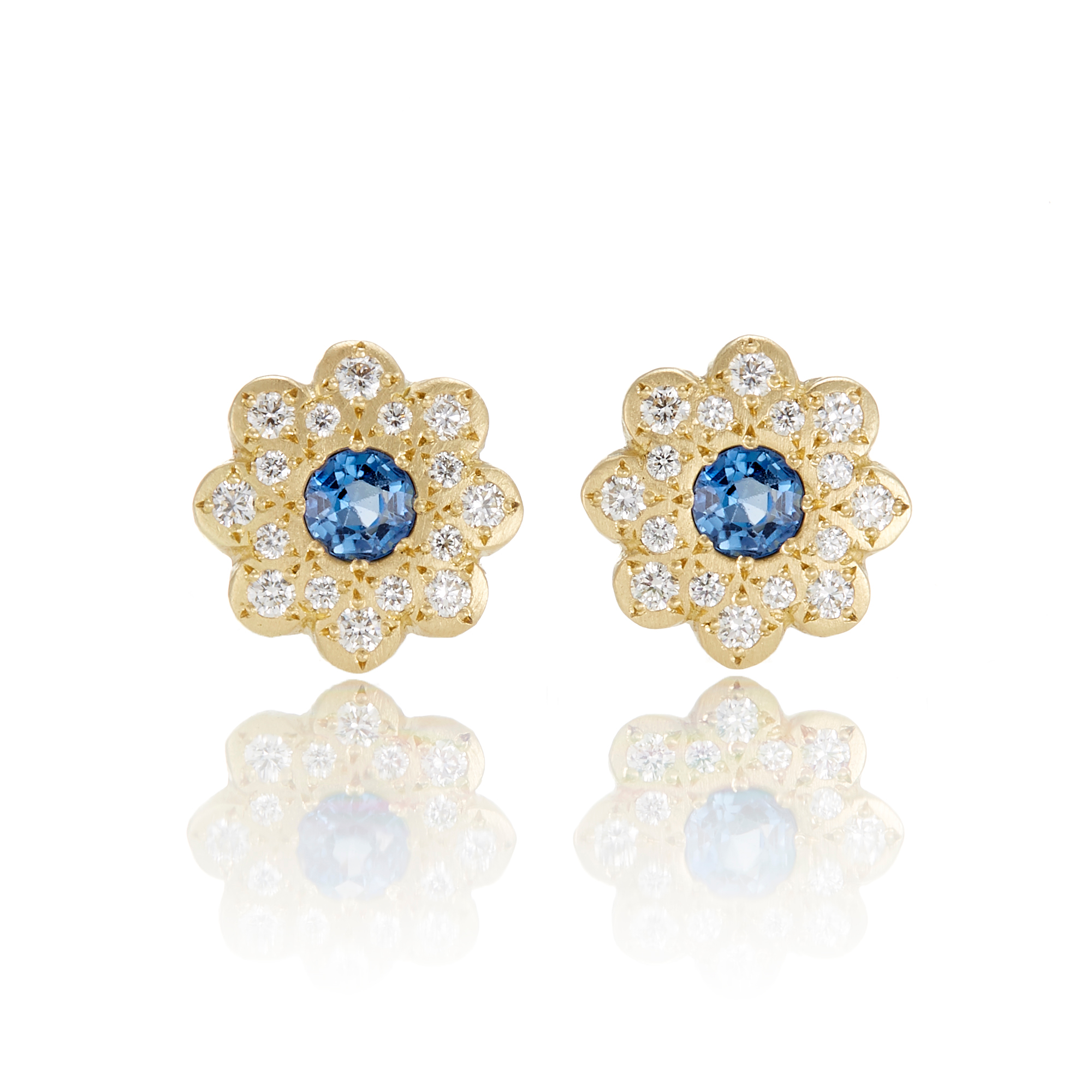 Adel Chefridi Moonflower Blue Sapphire Stud Earrings