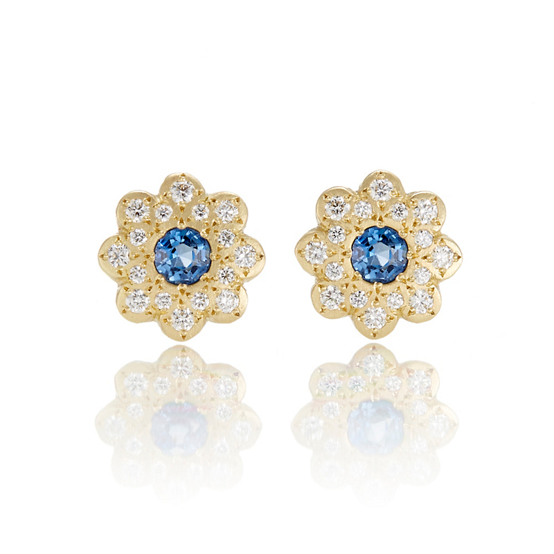 mens halo sapphire pave fana diamond design item blue stud earrings and