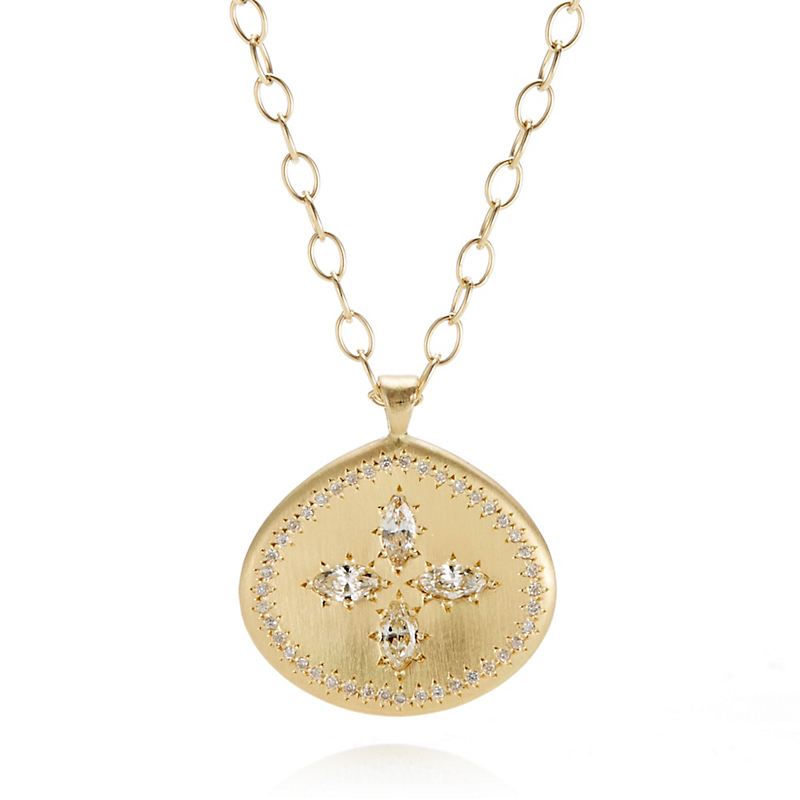 Adel Chefridi Diamond Petal Pendant Necklace