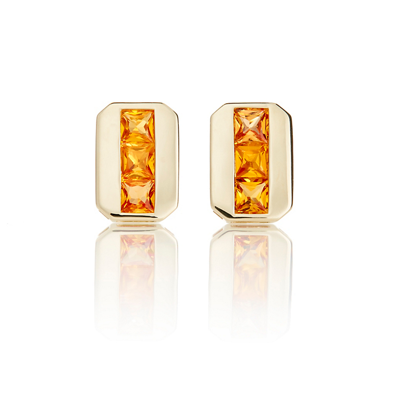 Gump's Orange Sapphire Stacked Gold Earrings