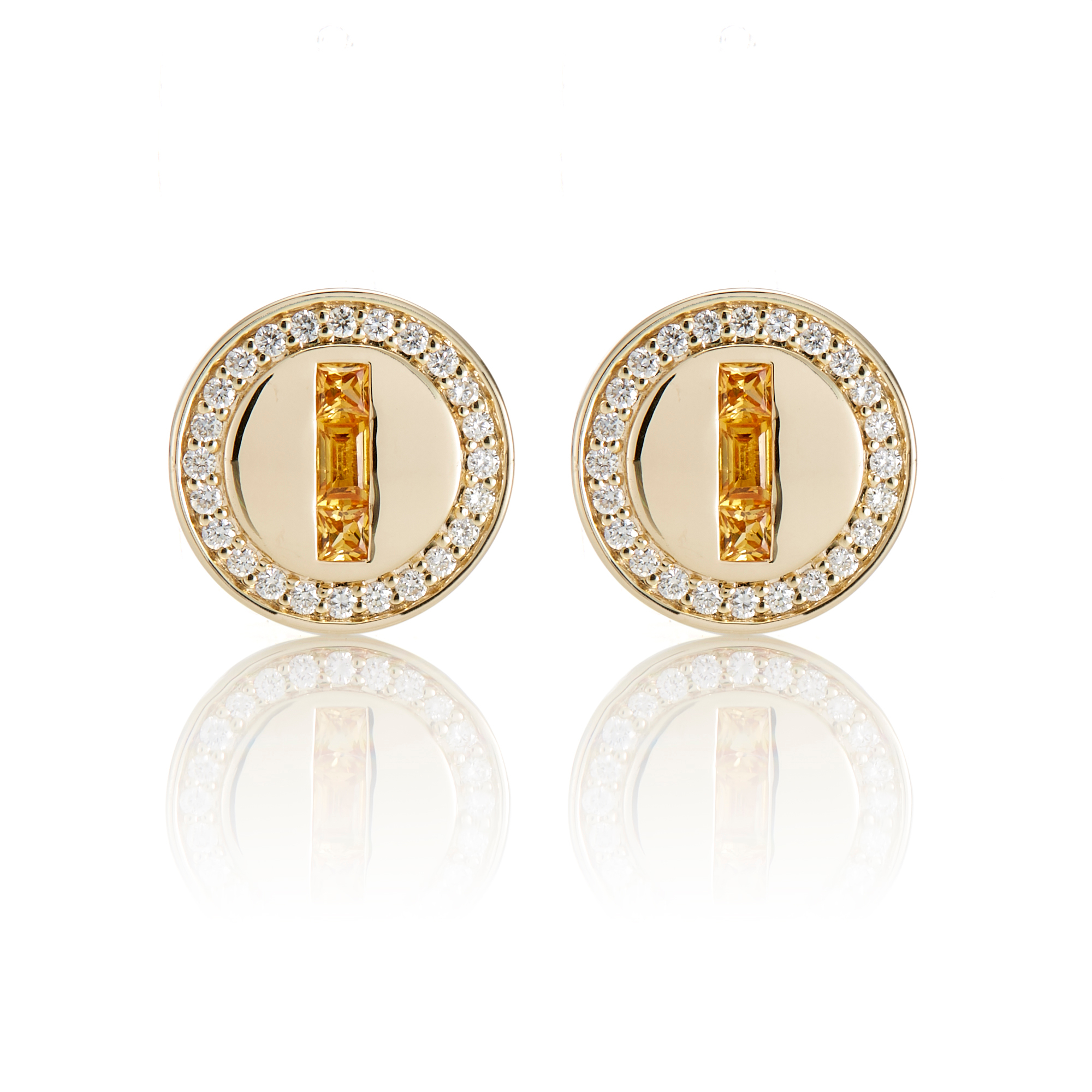Gump's Yellow Sapphire & Diamond Halo Round Earrings