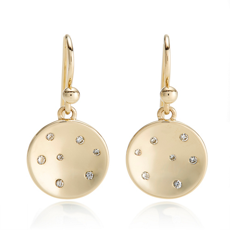 Gump's Gold Diamond Disc Drop Earrings