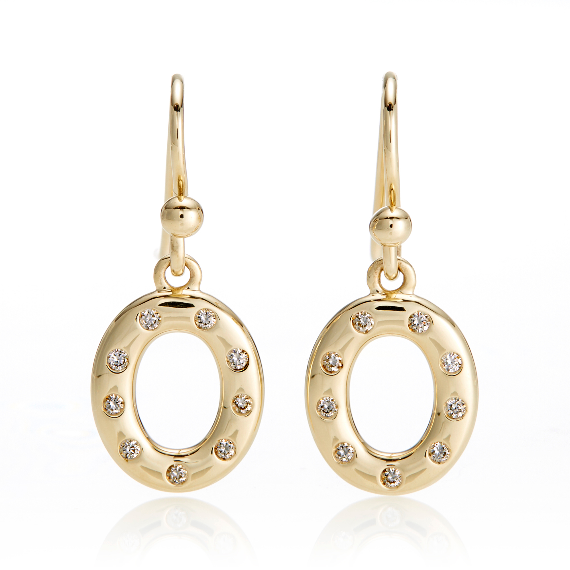 Gump's Gold & Diamond Open Circle Drop Earrings
