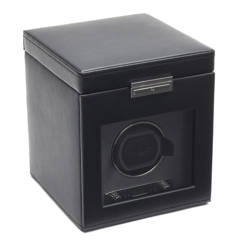 Wolf Viceroy Single Watch Winder with Storage, Black