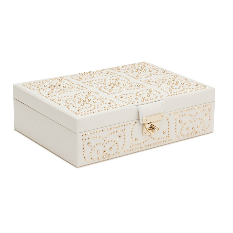 Wolf Marrakesh Flat Jewelry Box, Cream