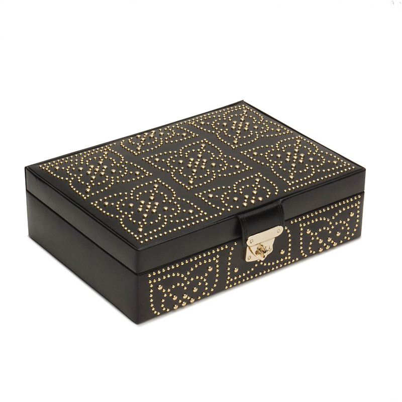 Wolf Marrakesh Flat Jewelry Box, Black