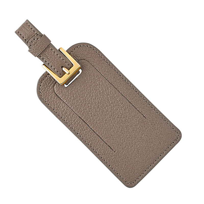 Leather Luggage Tag, Taupe