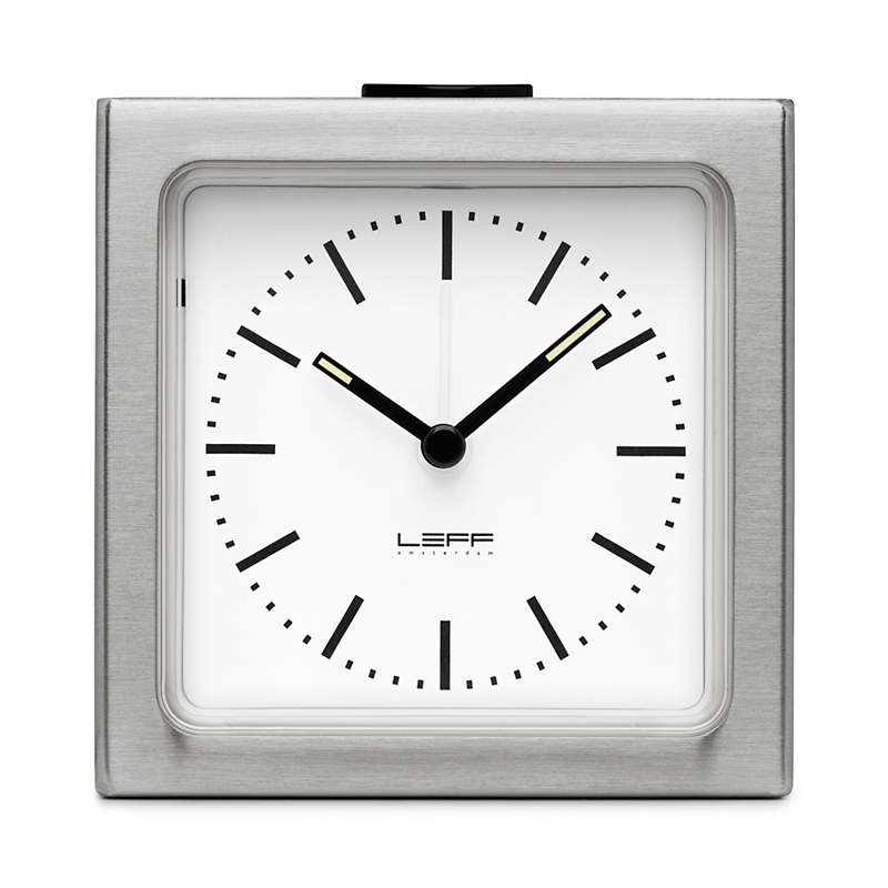 Leff Amsterdam Alarm Clock, Stainless steel/white