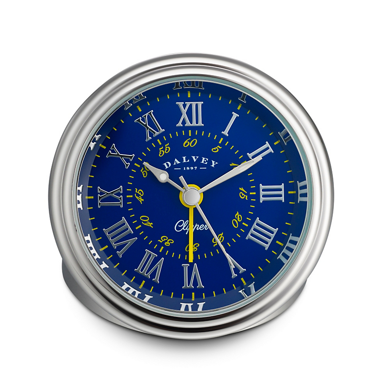 Dalvey Clipper Travel Clock, Blue/Yellow