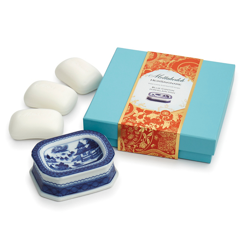 Mottahedeh Soap Gift Set with Soap Dish, Blue Canton