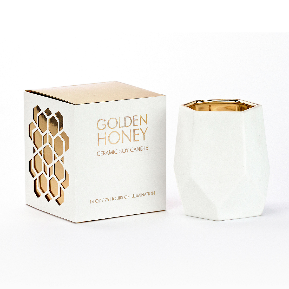 DL & Co Golden Honey Abstract Candle