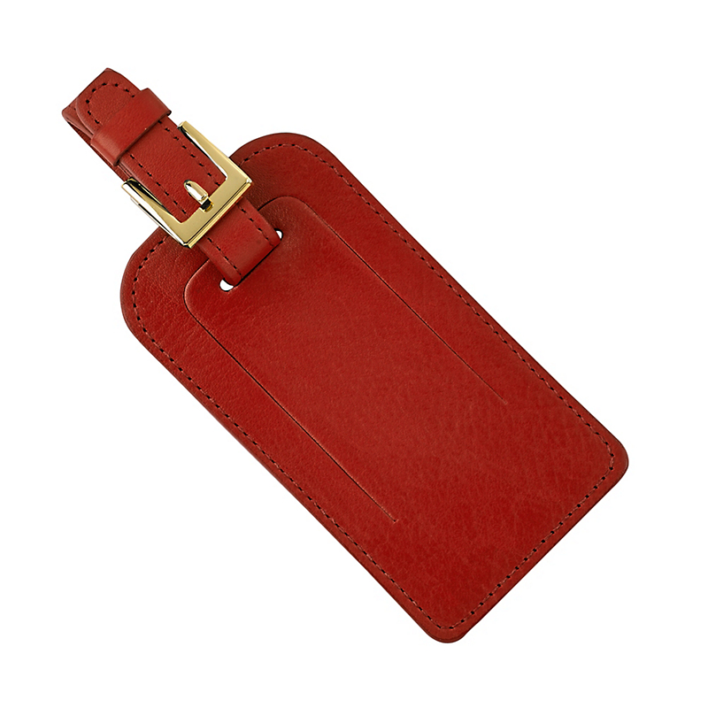 Leather Luggage Tag, Red