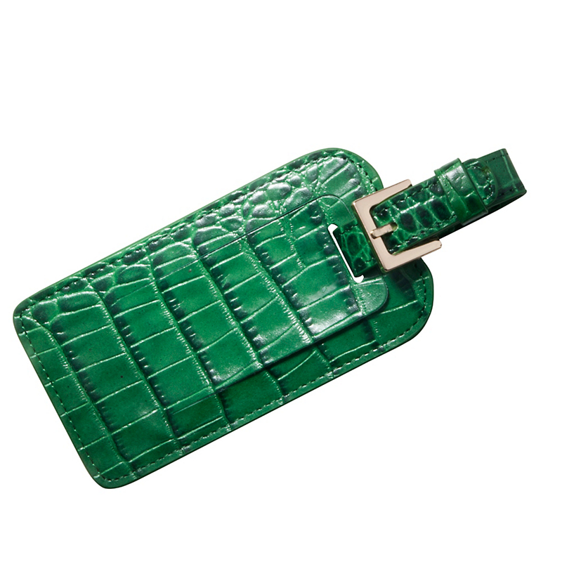 Croc-Embossed Leather Luggage Tag, Green