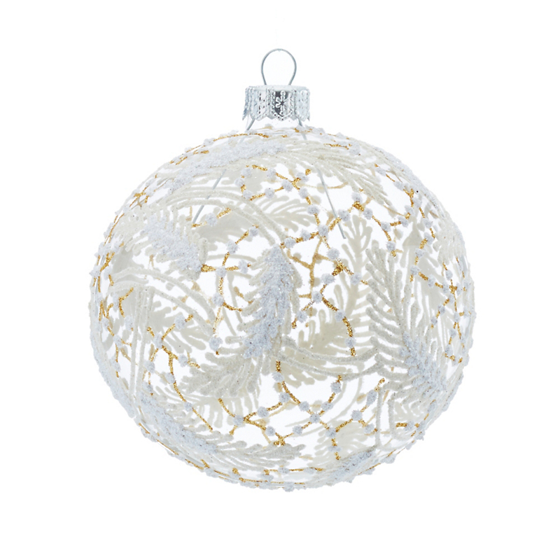 Winter Feather Ball Christmas Ornament